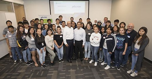Micron President and CEO Sanjay Mehrotra (center right) and SEMI and the SEMI Foundation President and CEO Ajit Manocha (center left) join students and instructors to kick off High Tech U